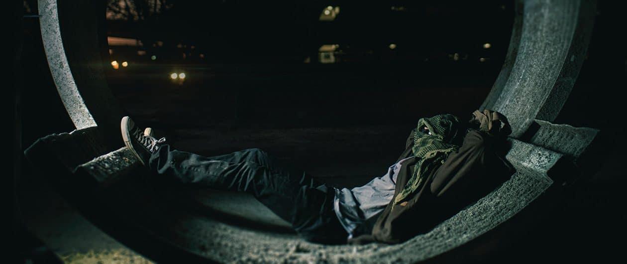 Obdachloser Mann