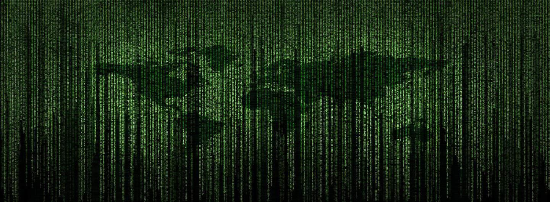 Matrix vor einer Weltkarte
